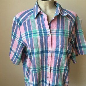 TAN JAY PINK/BLUE PLAID BUTTON UP TOP SIZE 16